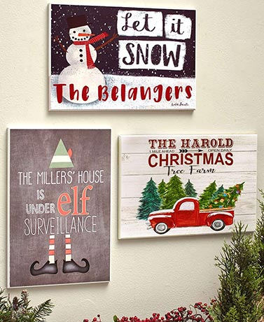 Personalized Holiday Wall Plaques