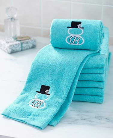 Sets of 2 Snowman Monogram Towels