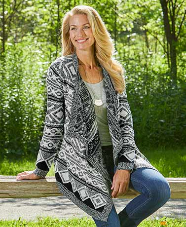 Graphic Pattern Draped Cardigans