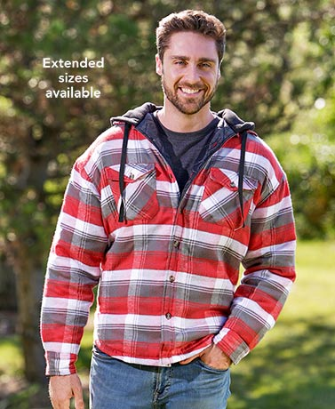 Men's Quilt-Lined Flannel Shirt Jackets