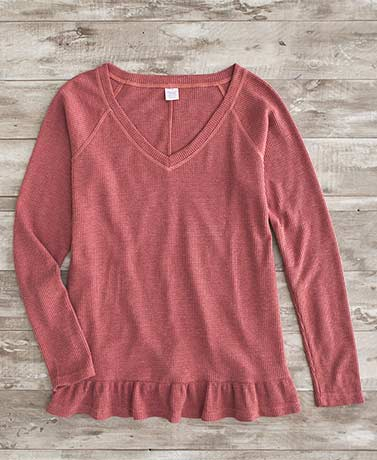 Ruffle Hem Thermal Tops