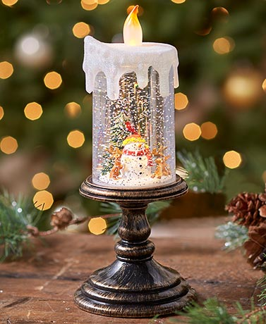 Lighted Holiday Candle Snow Globes
