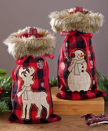 Faux Fur-Trimmed Plaid Wine Bags
