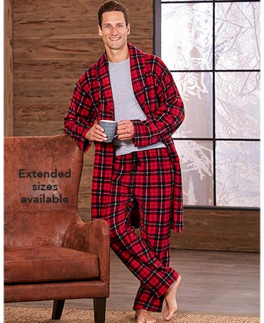 Men's Fleece Robe and Pants Sets