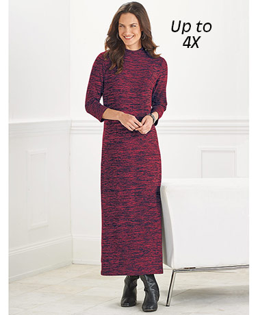 Funnel Neck Midi Dresses