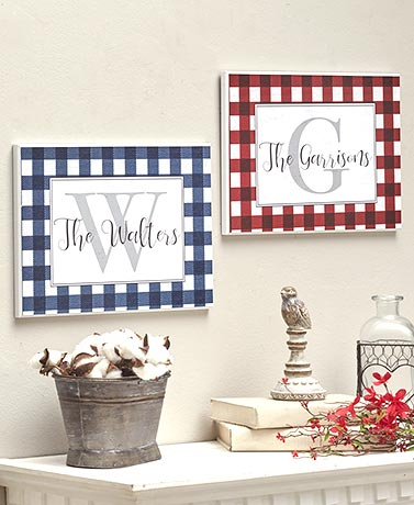 Gingham Plaid Personalized Wall Plaques