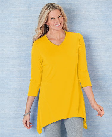 V-Neck Sharkbite Banana Colored Tunic