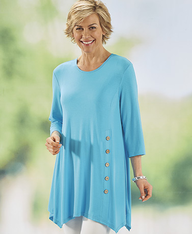 Button Detail Turquoise Tunic