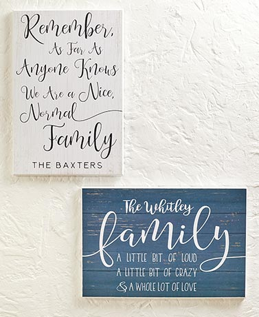 Personalized Family Sentiment Wall Plaques