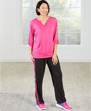 Women's Tab Sleeve Top and Pant Sets