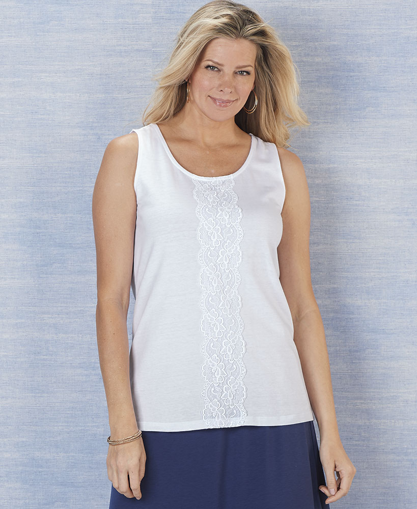 White Lace Front Tanks