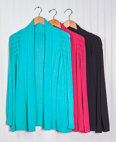 Flyaway Smocked Shoulder Cardigans