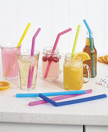Sets of 6 Silicone Reusable Straws and Cleaning Brush