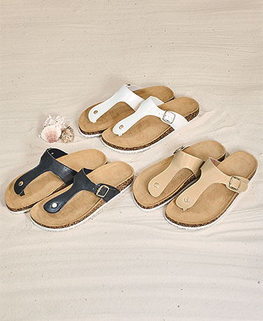 Women's Sandals with Cushioned Microsuede Footbed