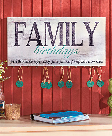 Family Birthday Plaque or Tag Set