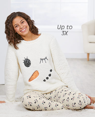 Snowman or Reindeer Plush and Fleece Pajamas