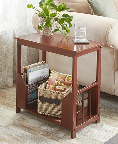 Wooden Double Magazine Rack End Tables
