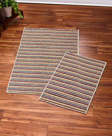 2-Pc. Striped Nonslip Rug Sets