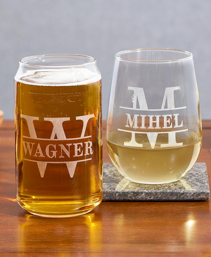 Personalized Etched Wine Or Beer Glasses The Lakeside Collection
