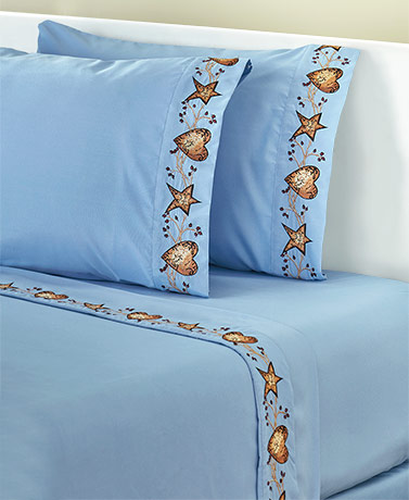 Hearts and Stars Country Blue Sheet Sets