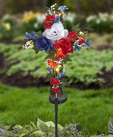 Solar Lighted Cross Stakes - Patriotic