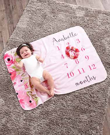 Personalized Milestone Baby Blankets