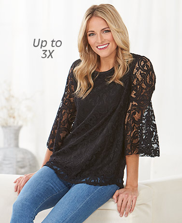 Women's Bell Sleeve Lace Tunic Tops