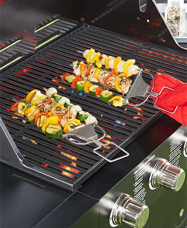 Set of 2 Easy Slide-Off BBQ Skewers