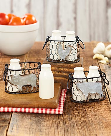 Farmhouse Salt and Pepper Shakers