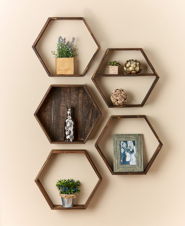 Rustic Wood Hexagon Floating Shelves