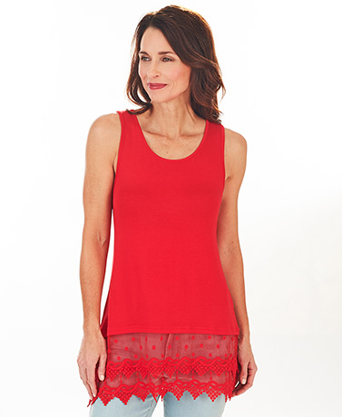 Women's Lace Trim Tank Tops - Red