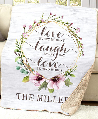 Personalized Family Sentiment Sherpa Throws - Live Laugh Love Wreath