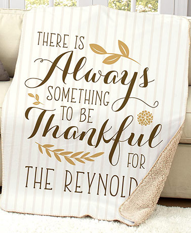 Personalized Family Sentiment Sherpa Throws - Always Thankful