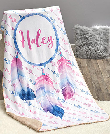 Personalized Trendy Sherpa Throws - Dreamcatcher