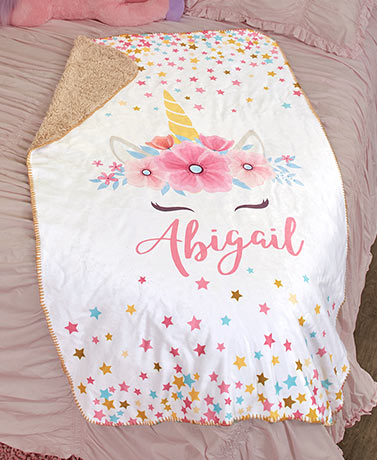 Personalized Trendy Sherpa Throws - Unicorn