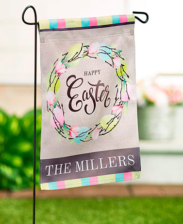 Personalized Double-Sided Spring Floral Flags - Happy Easter