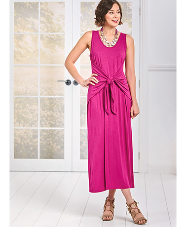 Women's Sleeveless Midi Dress with Tie Front