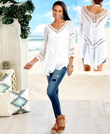 Women's Crochet Beach Top - White