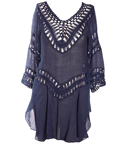 Women's Crochet Beach Top - Navy