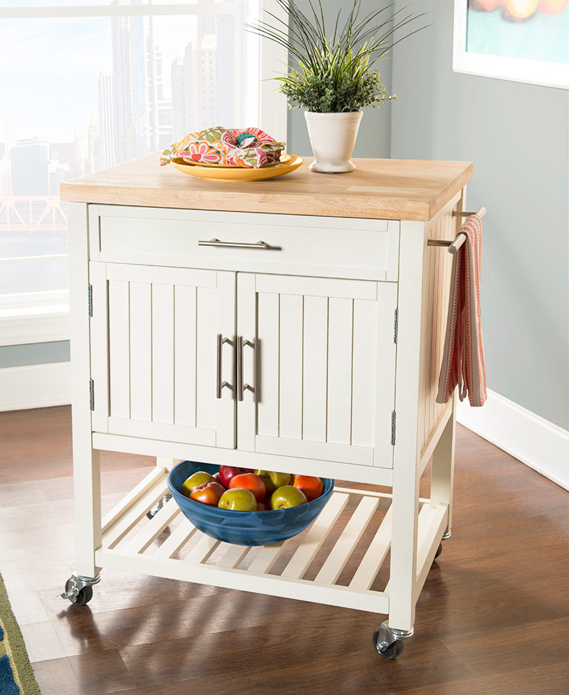Wood Butcher Block Rolling Kitchen Carts