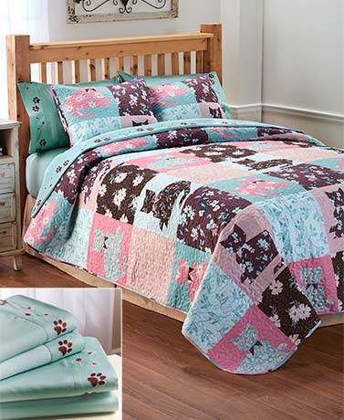 Floral Cats Sheet or Quilt Sets