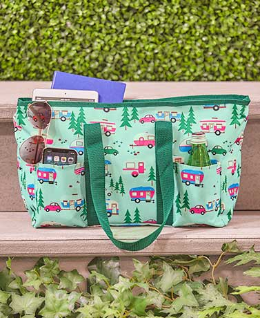 Multi-Pocket Tote Bags with Zip Closure