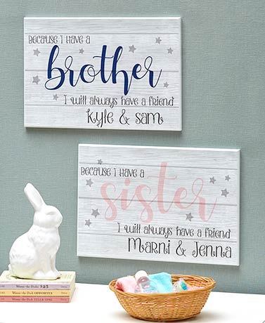 Brother or Sister Personalized Wall Art