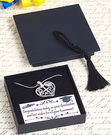Graduation Heart Necklace with Gift Box