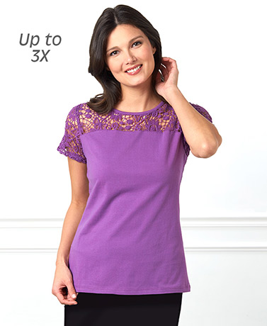 Women's Lace Yoke Short Sleeve Knit Tops