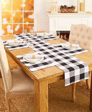 Black & White Check Table Linens