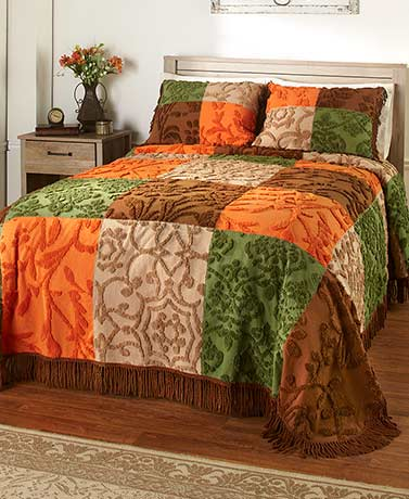 Chenille Patchwork Bedspread or Sham
