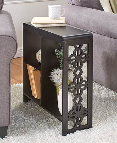 Black Slim Side Table with Cutout Accents
