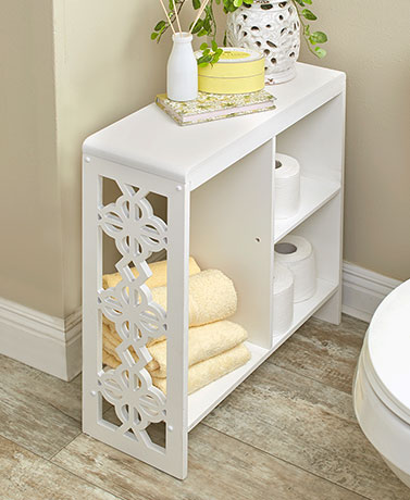 White Slim Side Table with Cutout Accents