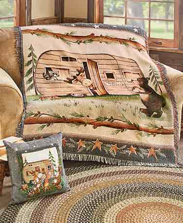 Woodsy Camper Tapestry Throw or Pillow